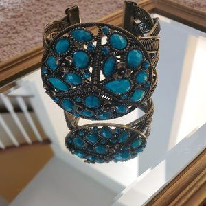 Turquoise and Brass cuff bracelet